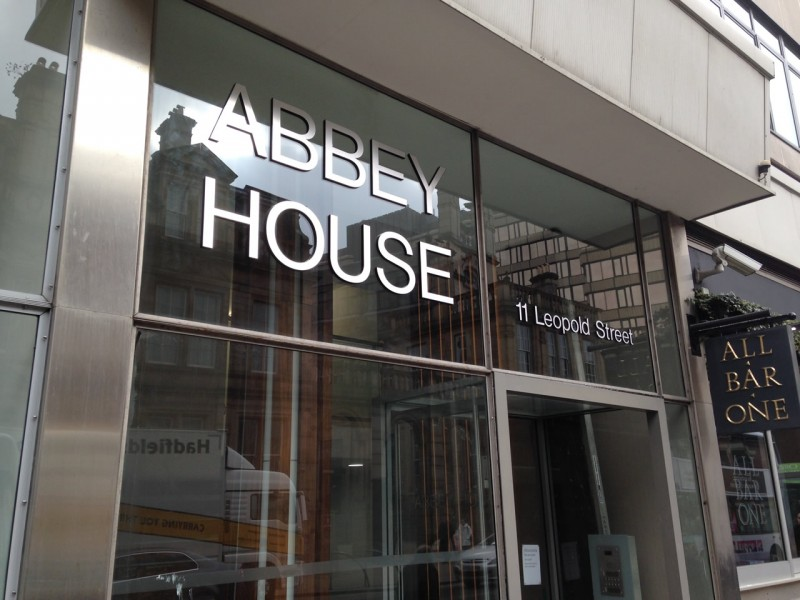 Abbey House sign, stainless steel letters