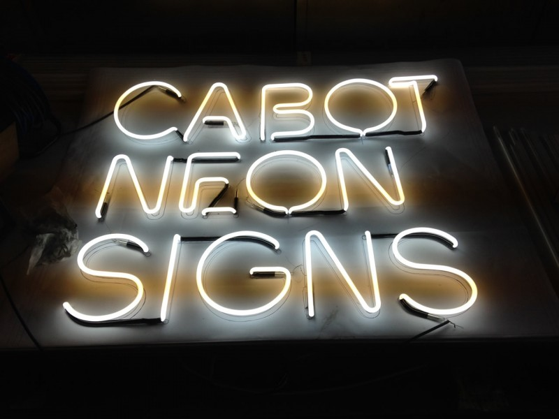 The new Cabot Neon Signs logo in neon